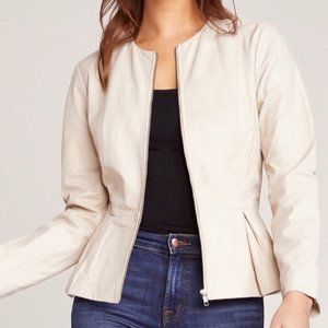 B B Dakota Clary Leather Jacket Peplum Medium New